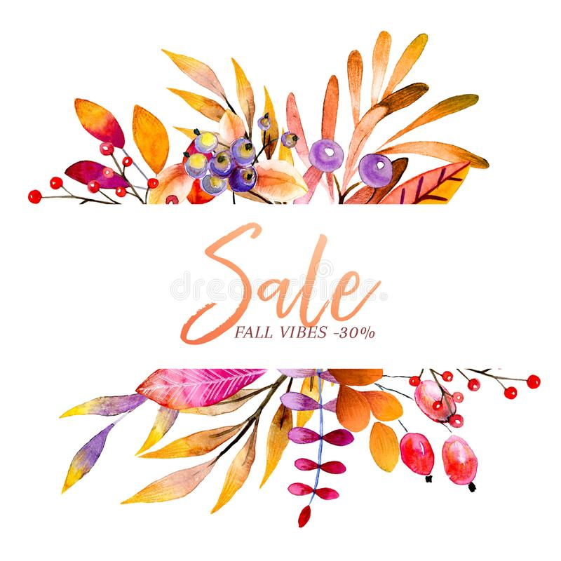 Hand drawn watercolor wreath of forest leaves, flowers, berries. Black friday discount. Autumn abstract branches. Mapple stock illustration