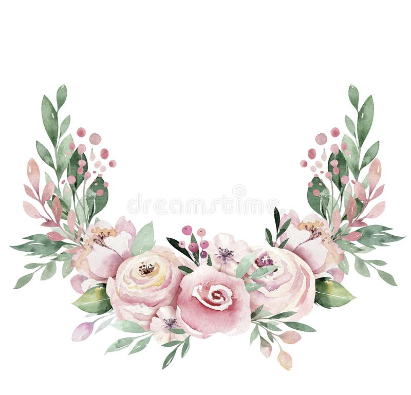 Hand drawn watercolor wreath illustration. Isolated Botanical wreathes of green branches and flower leaves. Spring and. Summer mood. Wedding blossom Floral vector illustration
