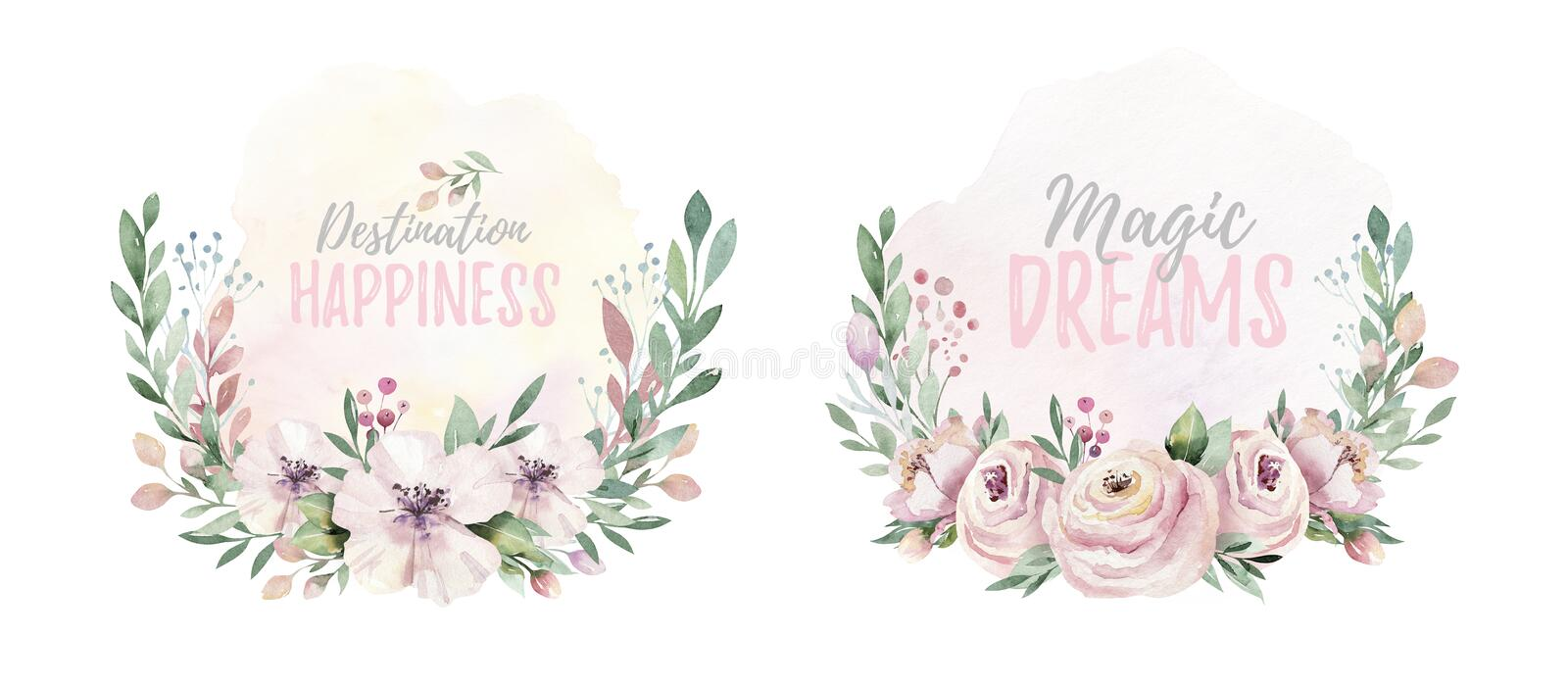 Hand drawn watercolor wreath illustration. Isolated Botanical wreathes of green branches and flower leaves. Spring and. Summer mood. Wedding blossom Floral royalty free illustration