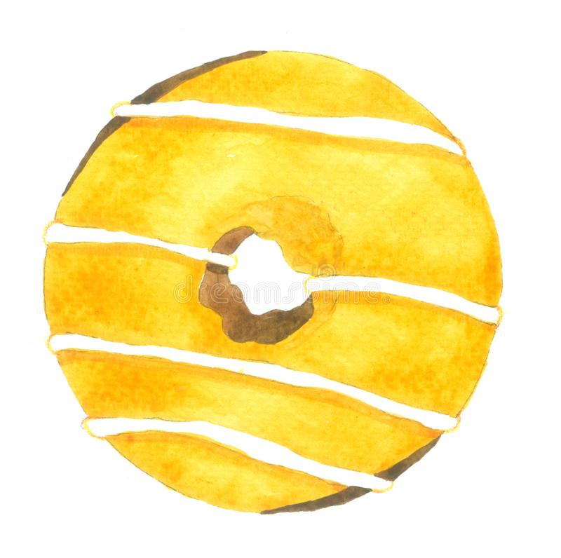 Hand drawn Watercolor Yellow Donuts on white background for decorative and design, pattern , packaging royalty free illustration