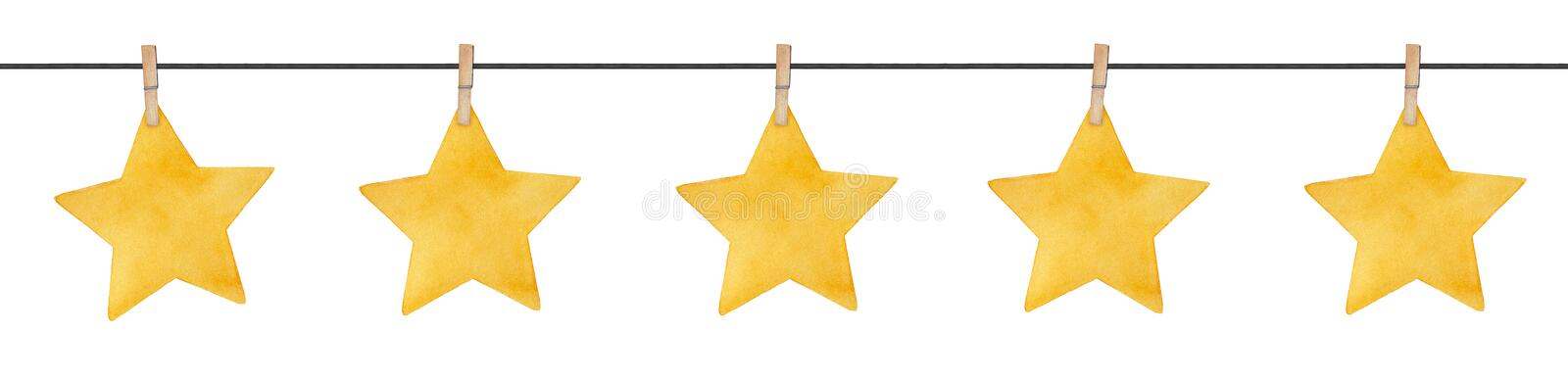 Seamless repeatable garland with cute little stars hanging on wooden clothespins. stock images