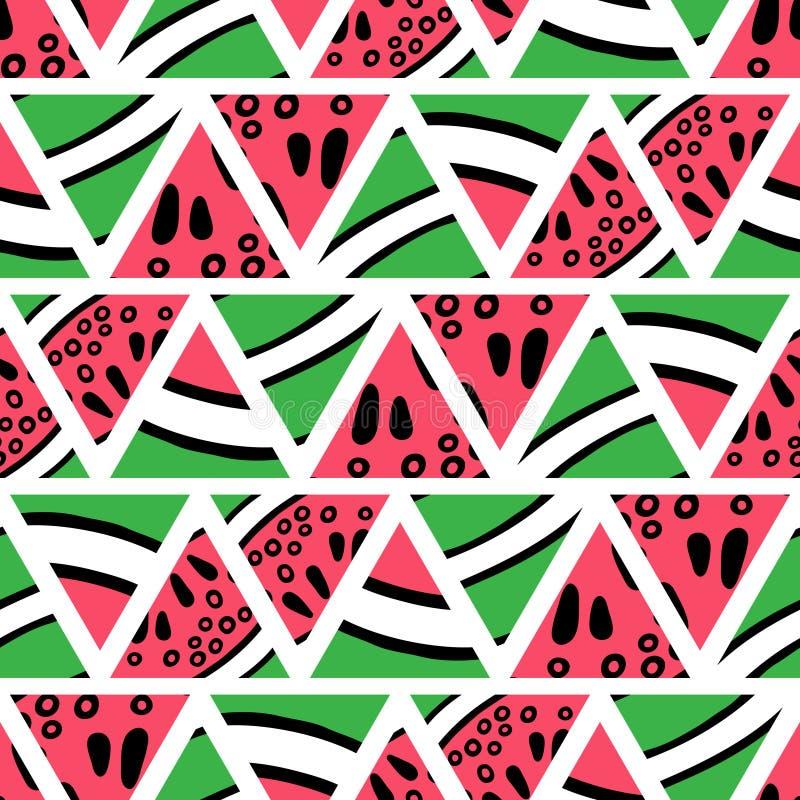 Hand drawn watermelon slices seamless pattern royalty free illustration