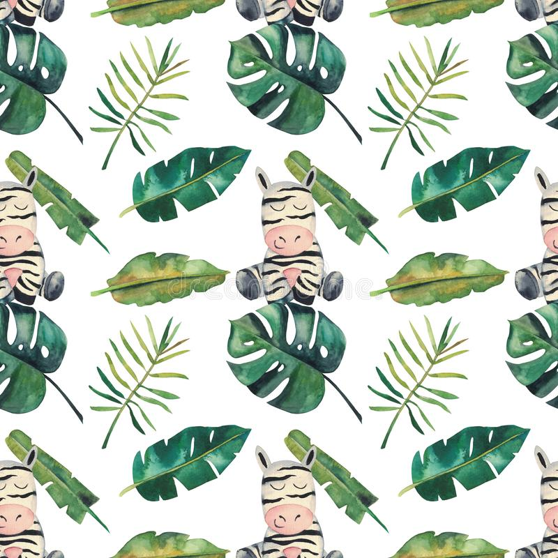 Hand-drawn waterverf naadloos patroon Groene tropische bladeren en een zebra op witte achtergrond royalty-vrije illustratie