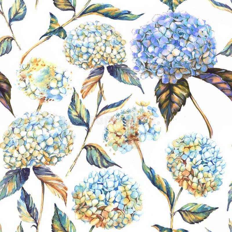 Hand-drawn waterverf naadloos patroon met witte en blauwe hydrangea hortensiabloemen stock illustratie