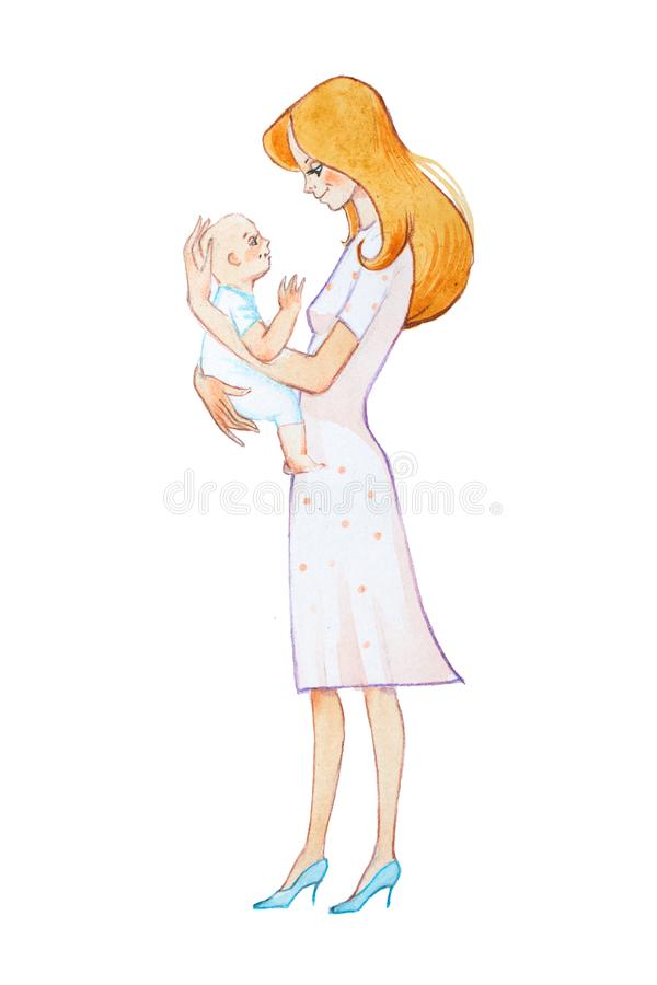 Hand-drawn waterverfillustratie van vrij jonge moeder die het pasgeboren glimlachen houden en vriendelijk hem bekijken vector illustratie