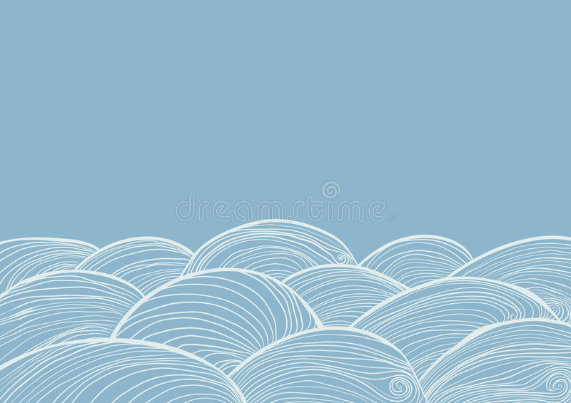 Hand drawn waves of water. stock illustration