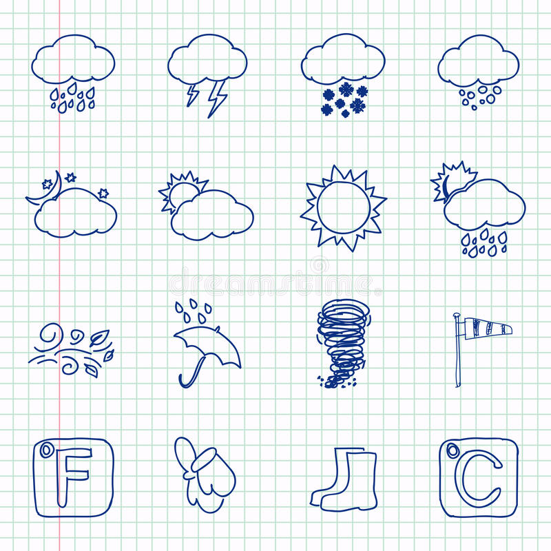 Hand drawn weather icons royalty free illustration