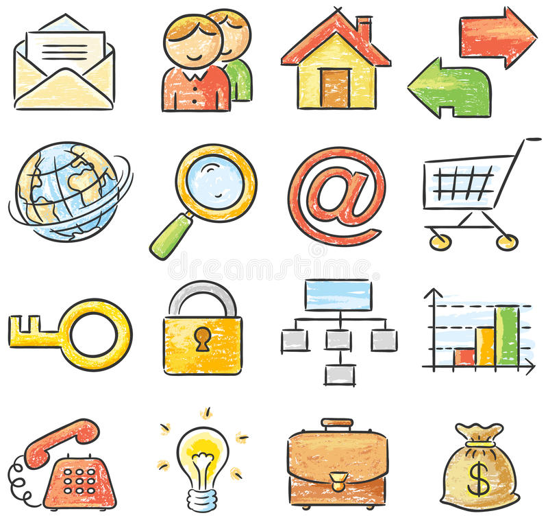 Hand-drawn web and business icons. No gradients vector illustration