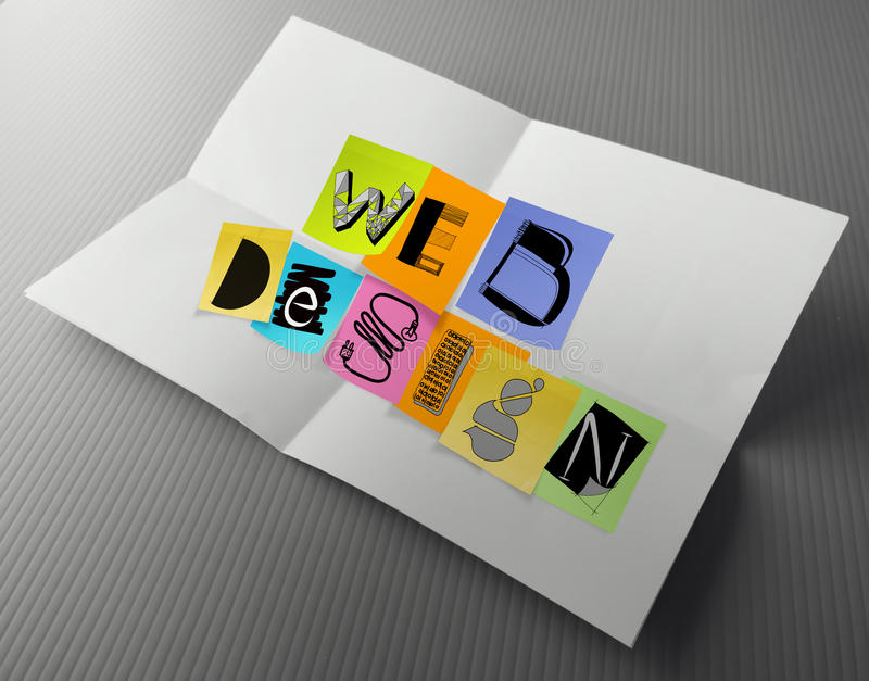 Hand drawn web design on sticky note. And crumpled paper royalty free stock images