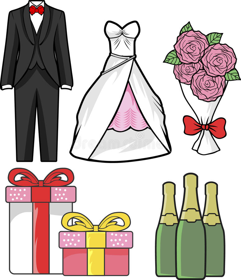 Download Hand Drawn Wedding Vector. Isolated On White Background. Tuxedo, Wedding Dress, Bouquet Pink Roses, Champagne, Gift Box Stock Vector - Illustration of elements, gift: 92450740