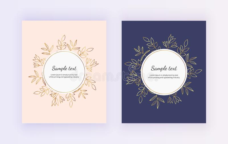 Hand drawn wedding invitation card. Golden lines contour flowers and leaves on the pink and dark blue background. Botanical design stock illustration