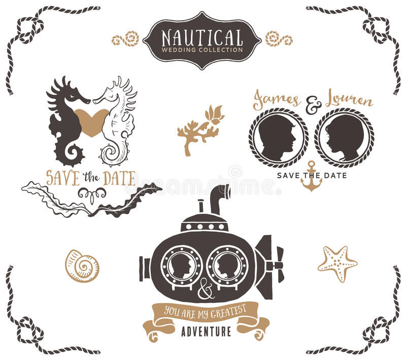 Hand drawn wedding invitation logo templates in nautical style. Vintage vector design elements royalty free illustration