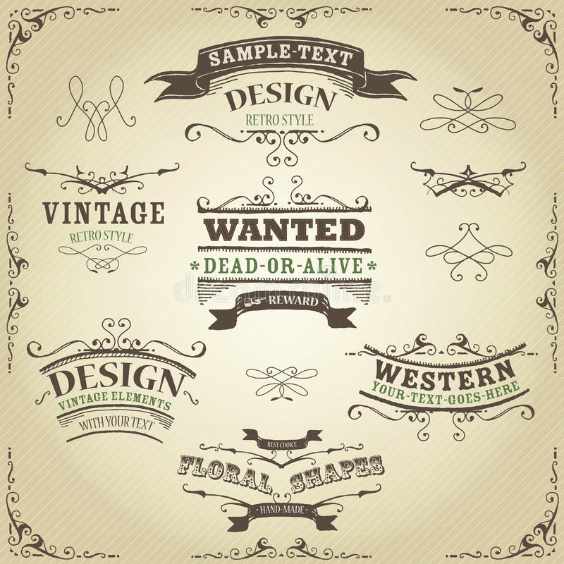 Free Hand Drawn Western Banners And Ribbons Royalty Free Stock Images - 31524439