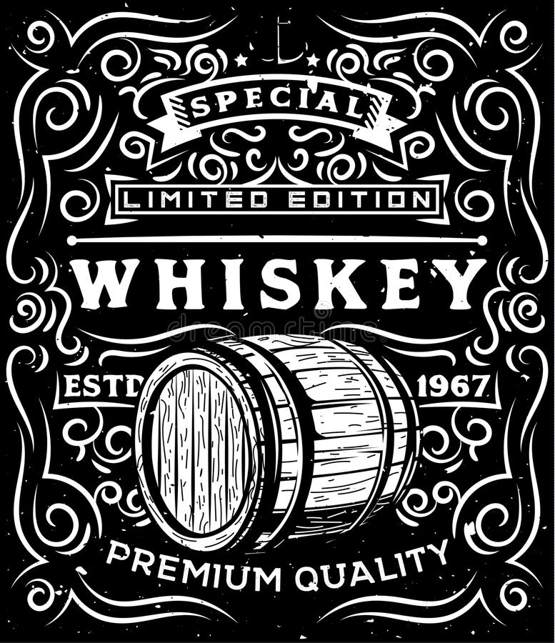 Hand drawn whiskey label with wooden barrel and floral calligraphic elements vector illustration