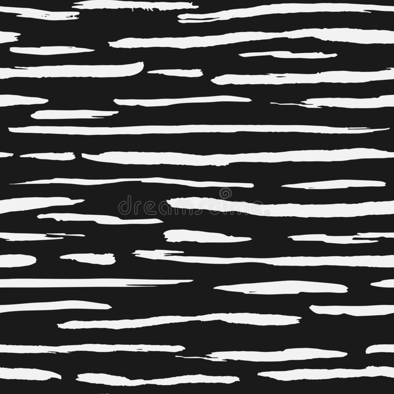 Hand drawn white ink stripe backdrop. Artistic brush stripes seamless pattern royalty free illustration
