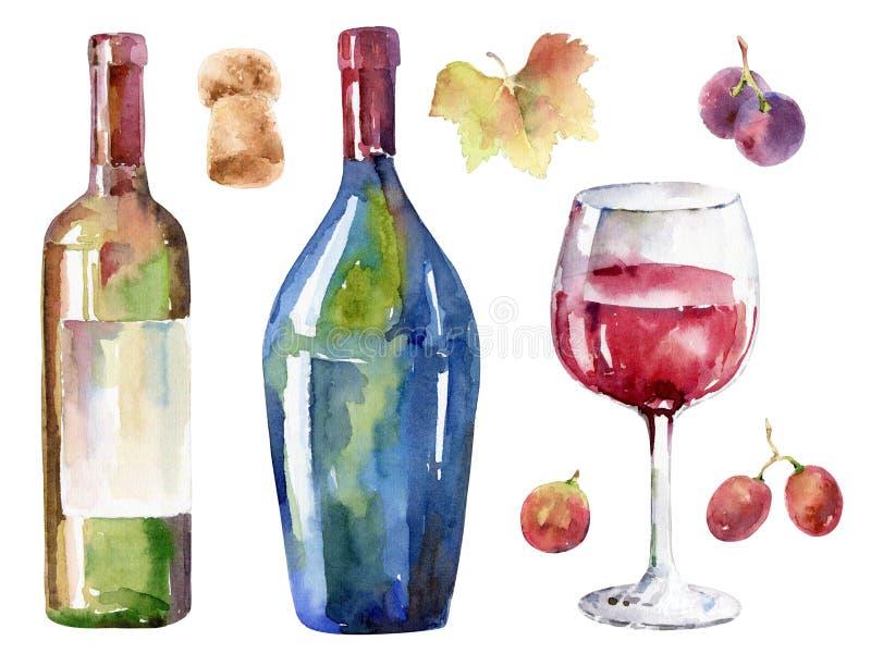 Hand-drawn wijnreeks De illustratie van de waterverf stock illustratie