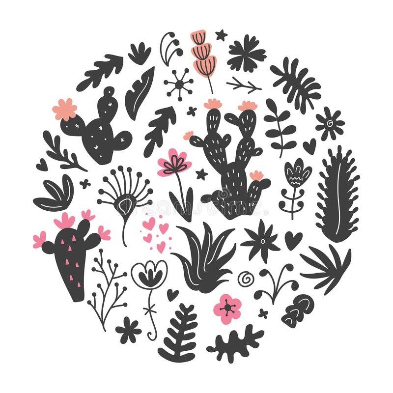 Free Hand Drawn Wild Cactus Flowers, Tropical Succulent Plants Circle Print Royalty Free Stock Photo - 112556935