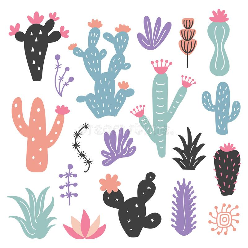 Free Hand Drawn Wild Cactus Flowers, Tropical Succulent Plants Set Royalty Free Stock Photos - 112491768