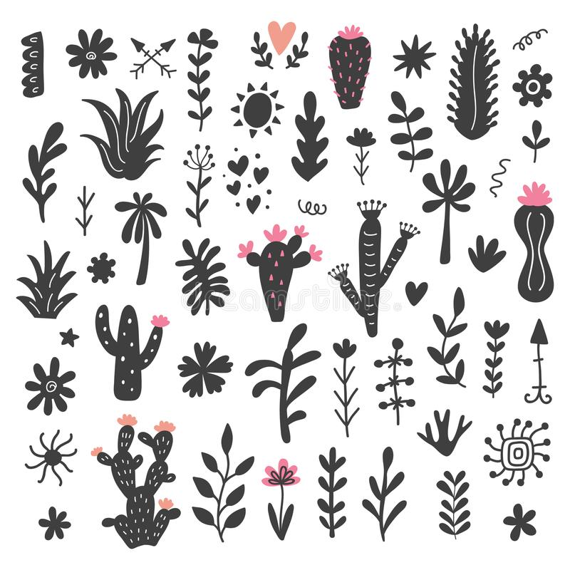 Free Hand Drawn Wild Cactus Flowers, Tropical Succulent Plants Set Royalty Free Stock Photo - 113929245