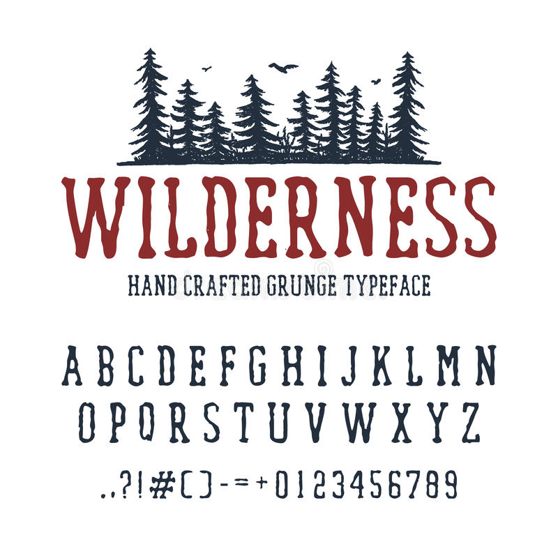 Free Hand Drawn Wilderness Font. Royalty Free Stock Images - 92438059
