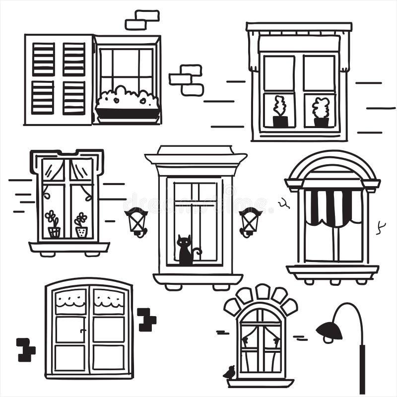 Download Hand drawn windows stock vector. Image of designs, windows - 24612498