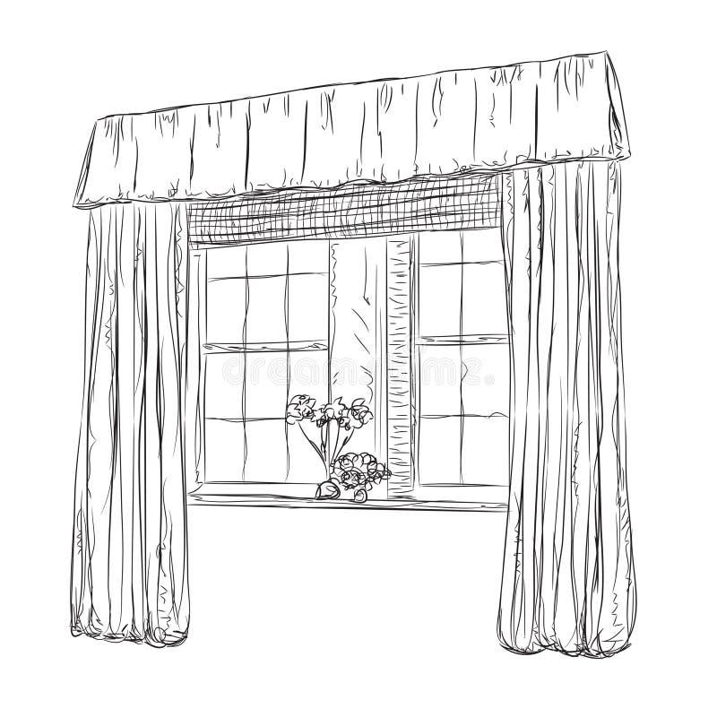 Download Hand Drawn Windows Sketch. Curtains Stock Vector   Illustration Of  Decoration, Illustration: