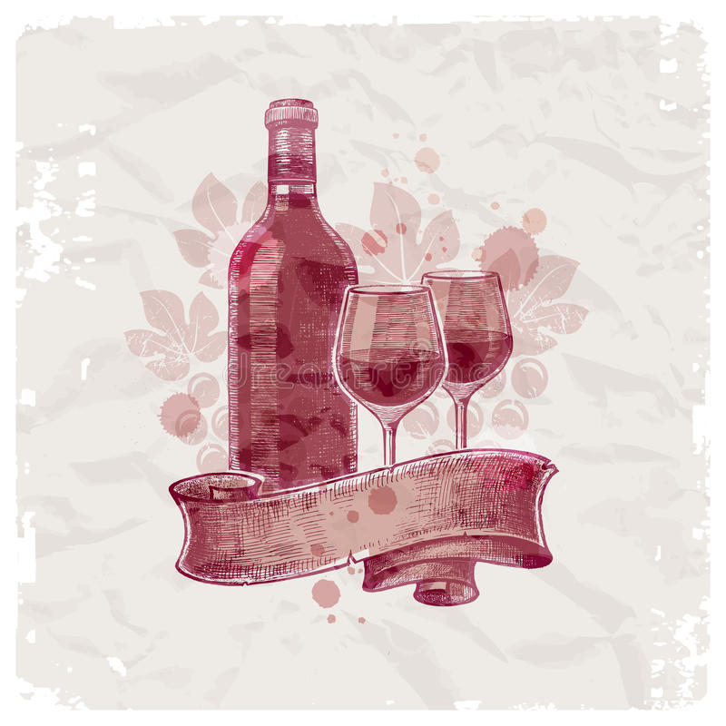 Hand drawn wine bottle & glasses royalty free illustration