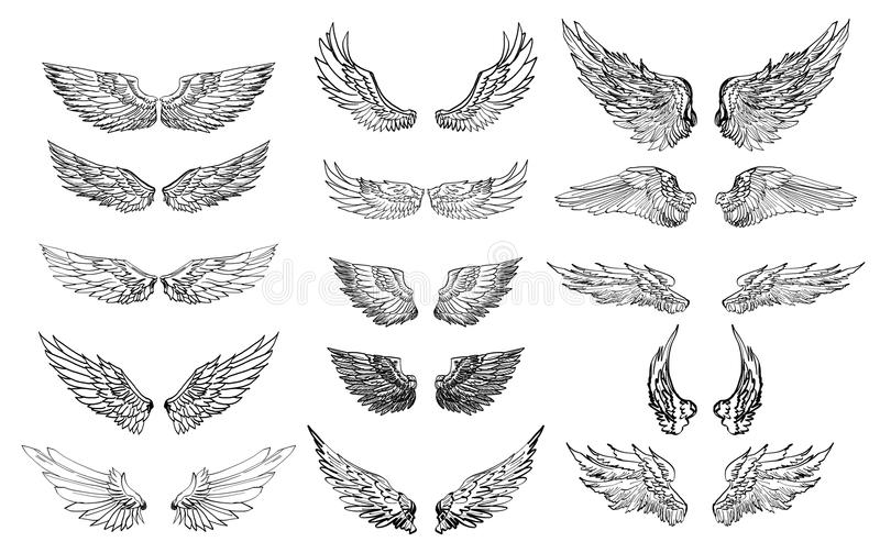 Hand drawn wing vector set. colorful Sticker wing tattoo stock illustration