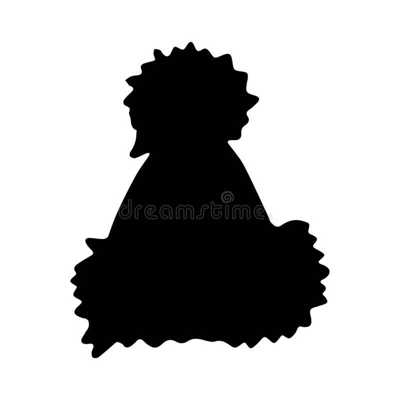 Hand Drawn winter hat doodle. Silhouette icon. Decoration element. Isolated on white background. Flat design. Vector illustration vector illustration