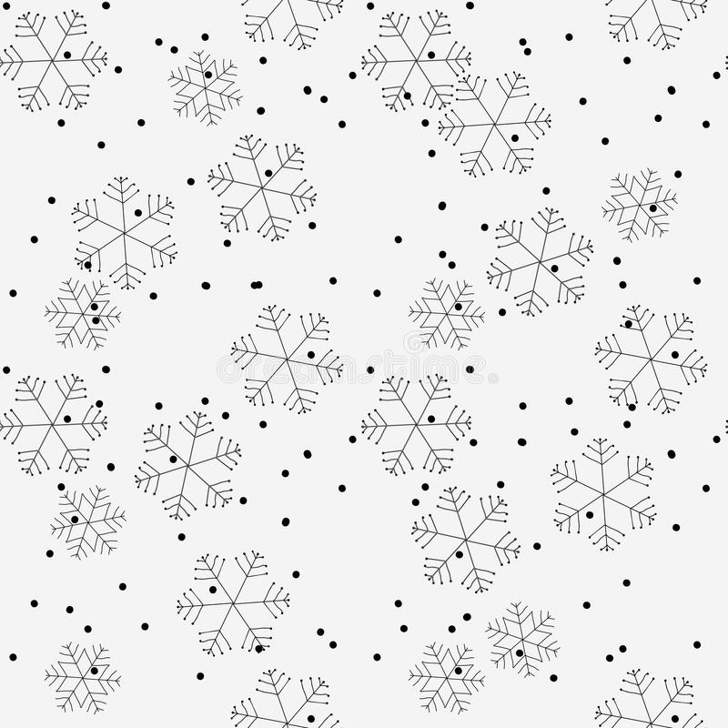 Hand drawn winter seamless patterns. Doodle Christmas, Noel, New Year backdrop. Decorative background for fabric, textile, wrappin royalty free illustration