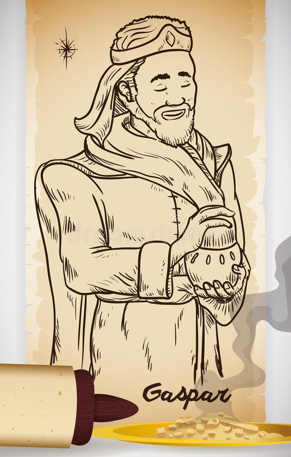 Hand Drawn of Wise Man in Scroll with Incense: Caspar, Vector Illustration. Poster with hand drawn illustration of Wise Man Caspar or Gaspar in Spanish in a royalty free illustration