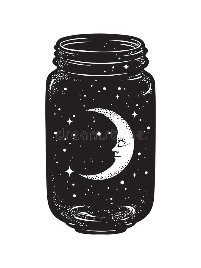 Hand drawn wish jar. Crescent moon and stars in glass jar isolated. royalty free illustration