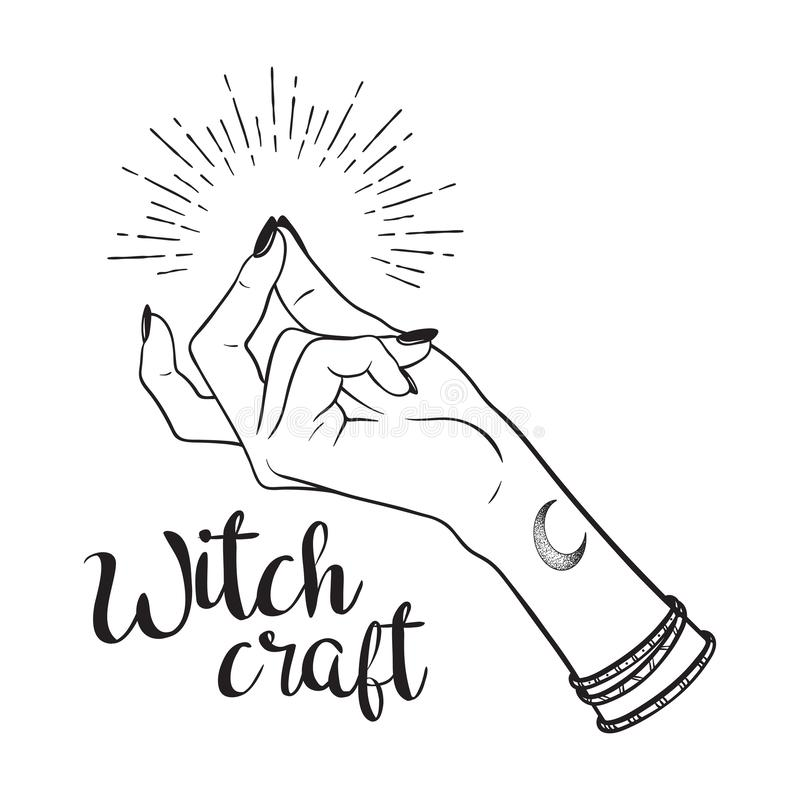 Hand drawn witch hand with snapping finger gesture. Flash tattoo, blackwork, sticker, patch or print design vector illustration stock illustration