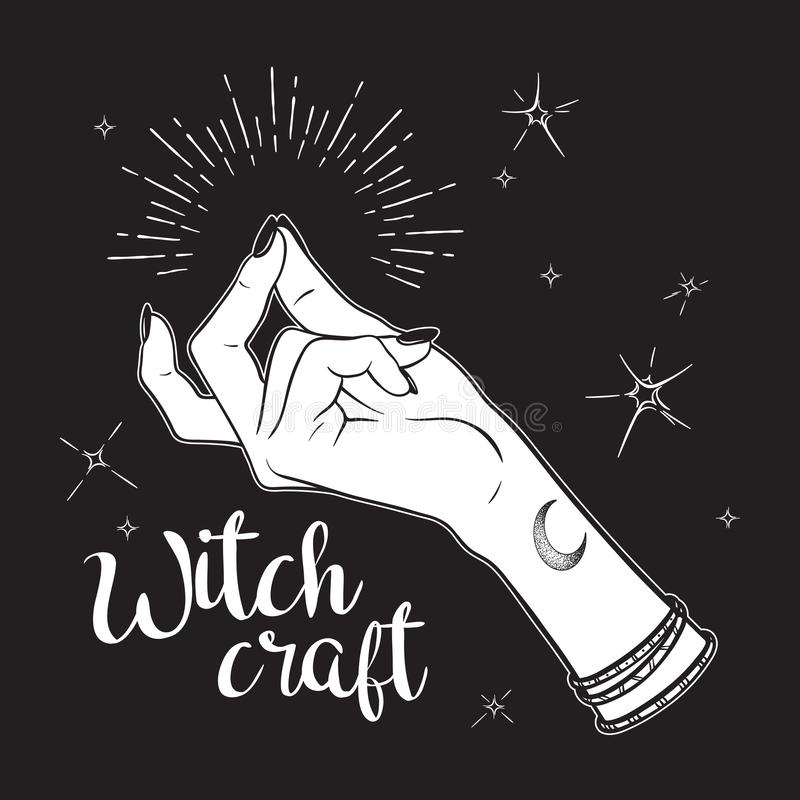 Hand drawn witch hand with snapping finger gesture. Flash tattoo, blackwork, sticker, patch or print design vector illustration.  stock illustration