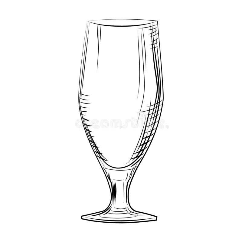 Hand drawn woman beer glass. Engraving style. illustration isolated vector illustration