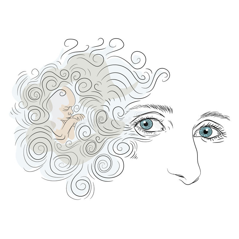 Download Woman Face With Blue Eyes And Curly Hair Small Baby Boy Sleeping Vector