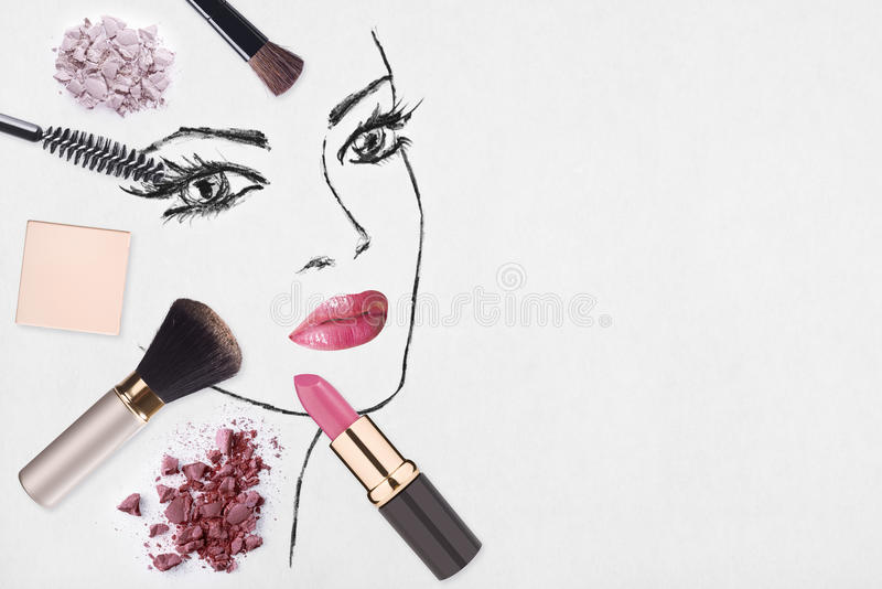 Hand-drawn woman face and make up products vector illustration