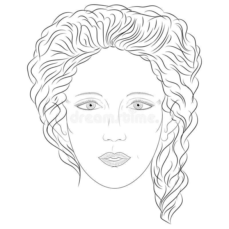 Hand Drawn Woman in Full Face. Sketch Drawing Beautiful Lady with Curly Hairs. vector illustration