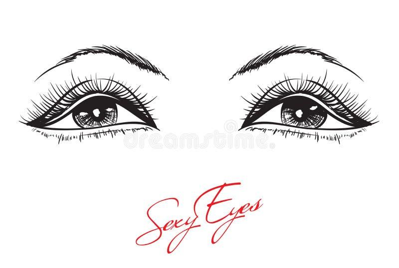 Hand-drawn woman`s makeup vector illustration