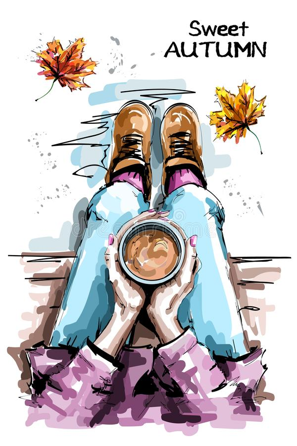 Hand drawn woman sitting and holding coffee cup. Stylish set with woman body, coffee cup and autumn leaves. vector illustration