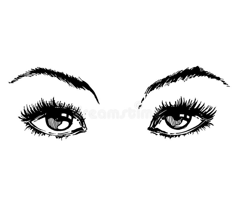 Hand drawn women`s eyes vintage. Beautiful Woman`s eyes. Vector . Fashion design vector illustration
