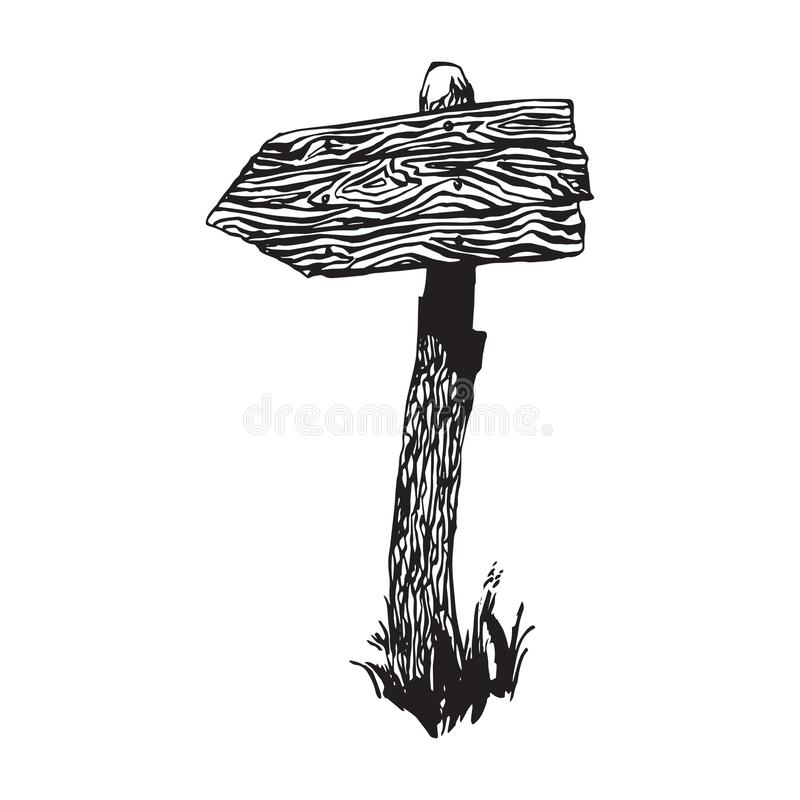 Hand drawn wooden sign post. Old country way mark vector illustration. Black isolated on white background vector illustration