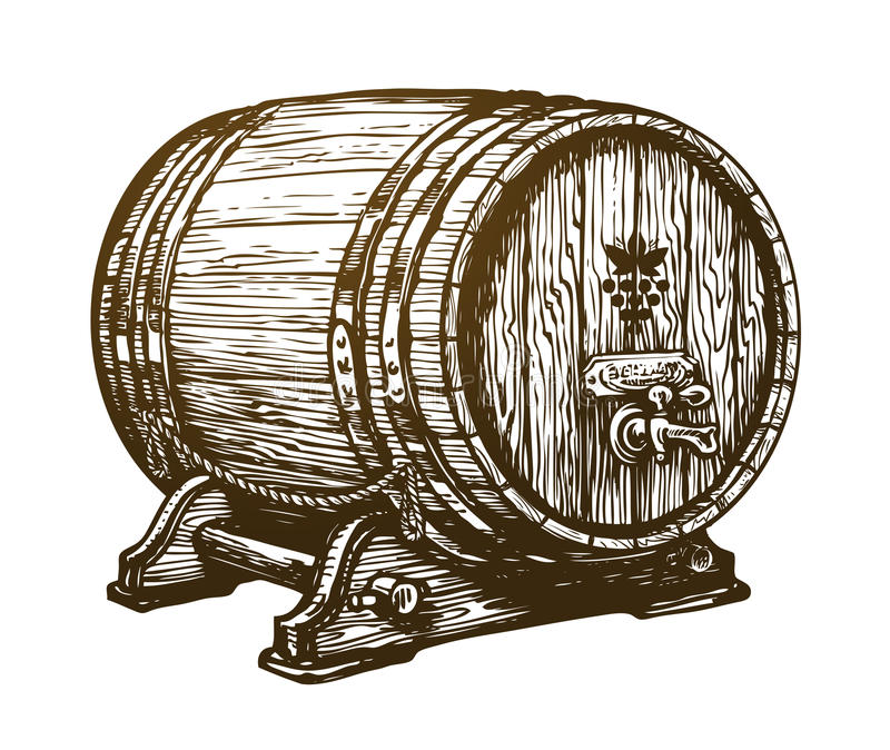 Hand drawn wooden wine cask. Drink, oak barrel sketch. Vintage vector illustration vector illustration