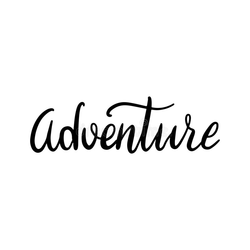 Hand drawn word Adventure. Brush pen lettering with black phrase isolated on white background vector illustration