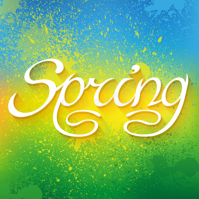 Hand drawn word SPRING lettering on colorful paint stock illustration