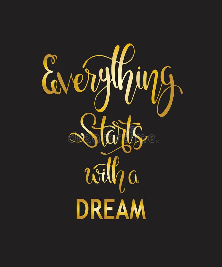 Hand drawn words. Brush pen lettering with phrase Everything starts with a dream vector illustration
