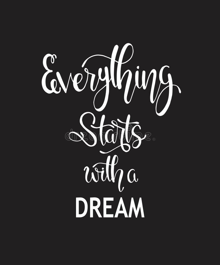 Hand drawn words. Brush pen lettering with phrase Everything starts with a dream royalty free illustration