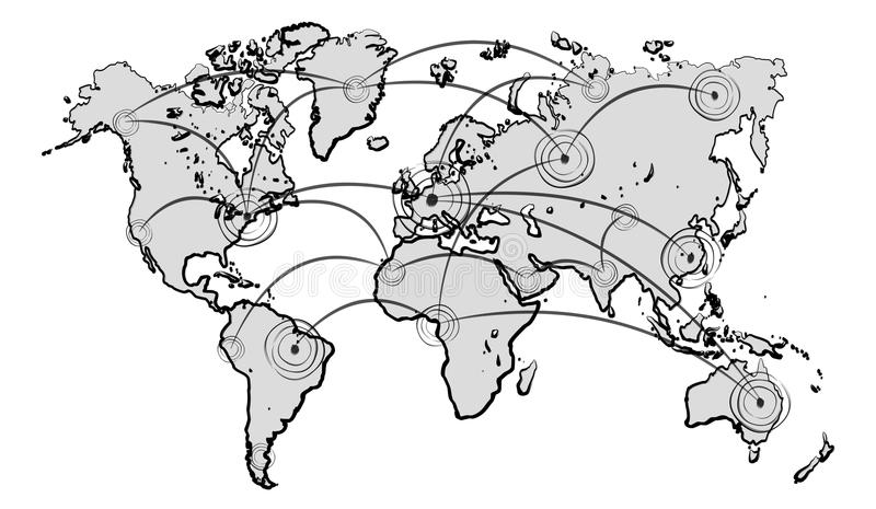 Hand drawn world map with connections sketch stock illustration download hand drawn world map with connections sketch stock illustration illustration of manuscript blue gumiabroncs Images
