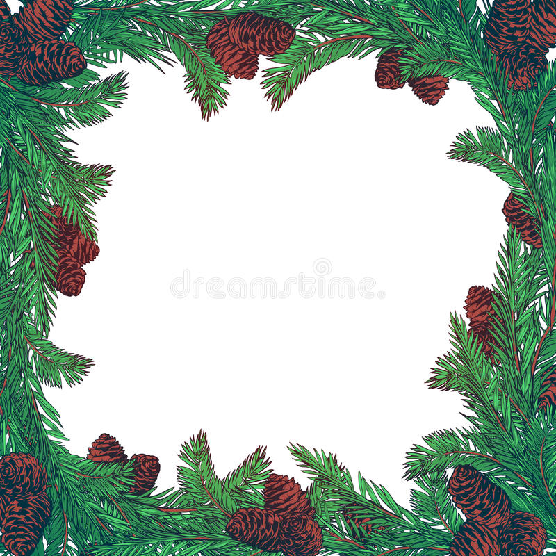 Hand drawn wreath with fir tree branches and cones. Square frame for Christmas cards winter design. stock illustration