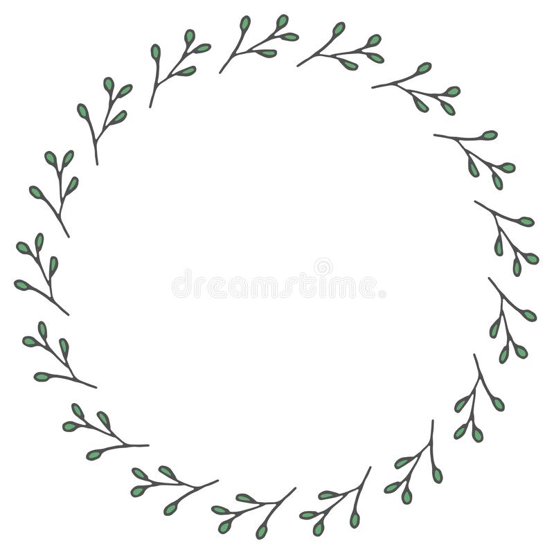 Hand drawn wreath made in vector. royalty free stock images